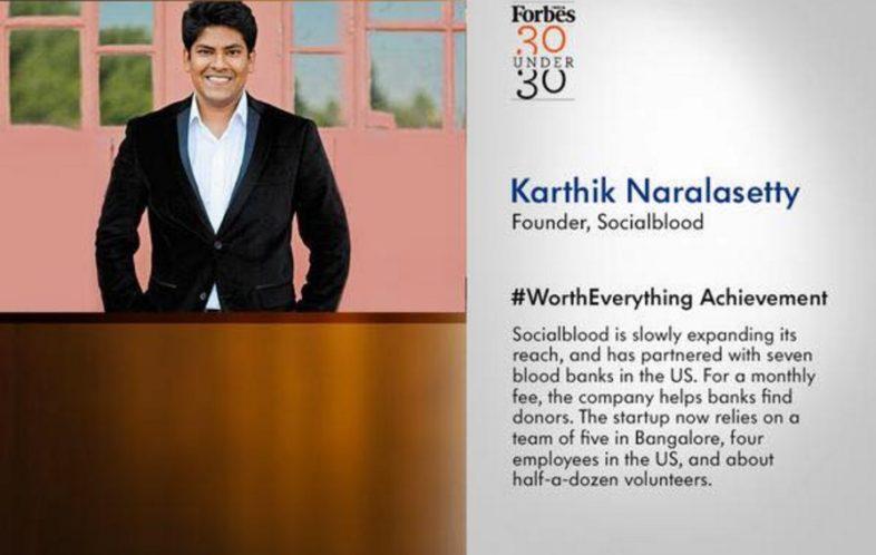 Karthik Naralasetty socialblood bank founder
